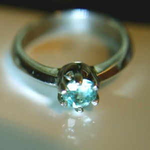 Jewelry - Blue Zircon 1.20ct Platinum Solid Silver Ring